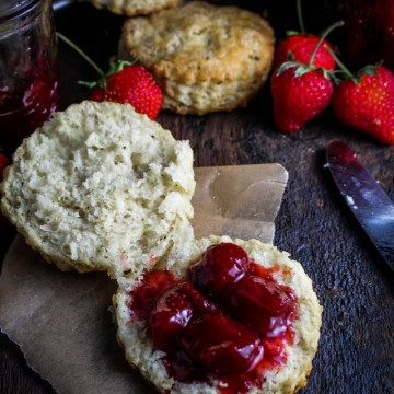 Black Pepper Buttermilk Biscuits with Strawberry Pinot Noir Jam {Katie at the Kitchen Door}