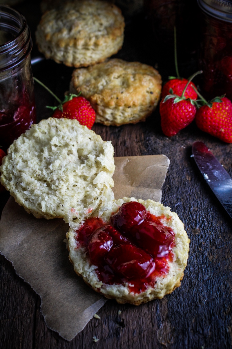 Ingredient of the Week: Strawberries // Black Pepper Buttermilk Biscuits with Strawberry Pinot Noir Jam