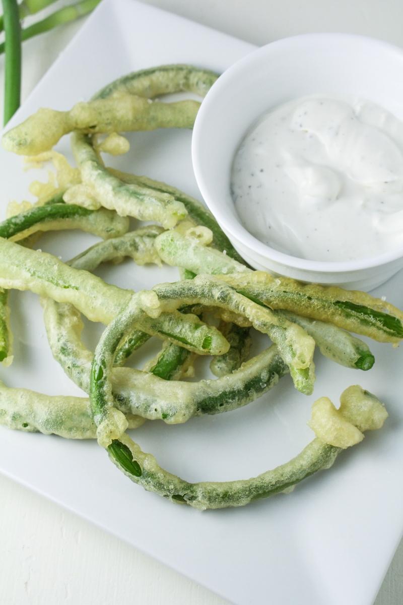 Garlic Scape Tempura with Goat Cheese Dip {Katie at the Kitchen Door}