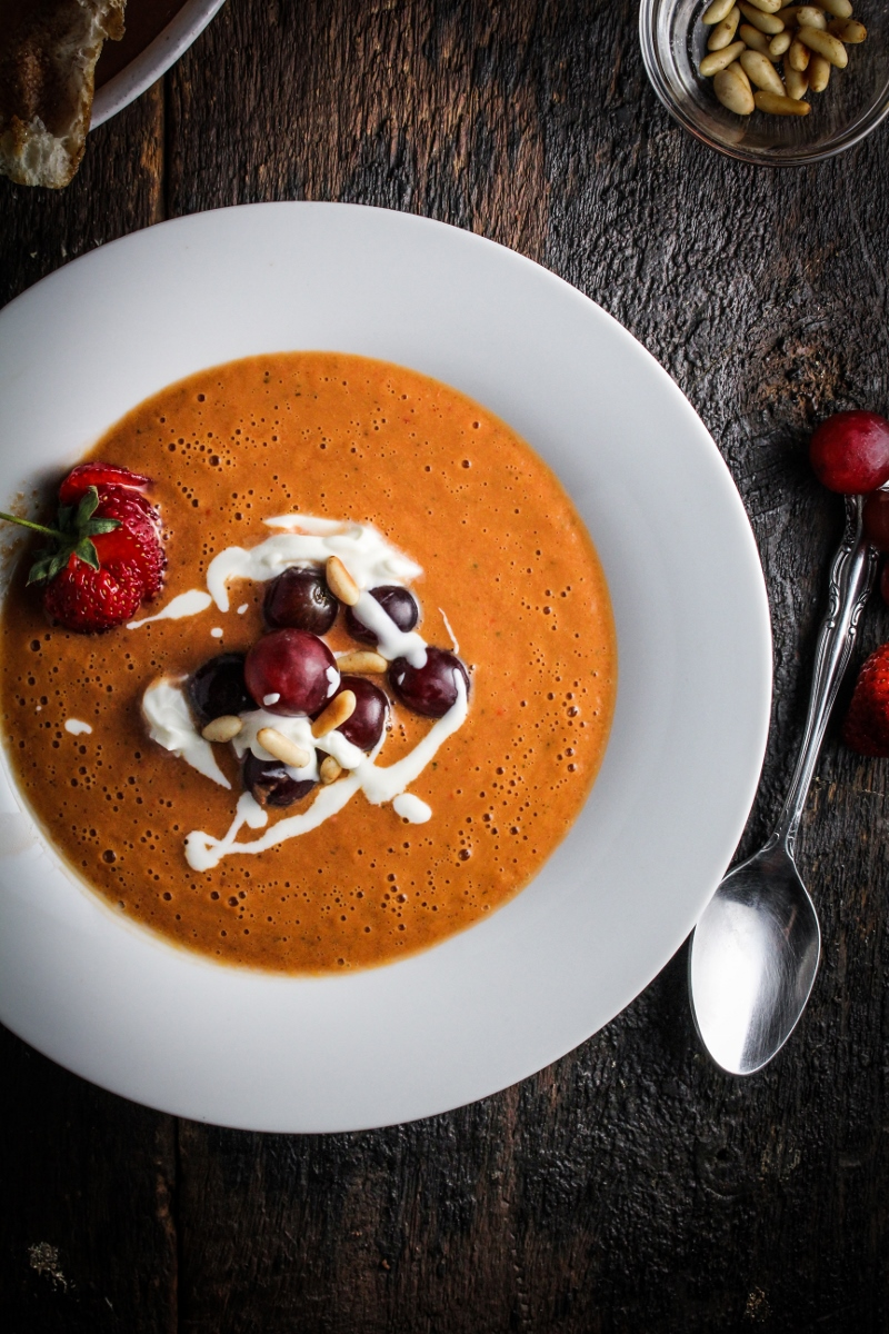 Strawberry Gazpacho with Grapes and Goat Cheese {Katie at the Kitchen Door}