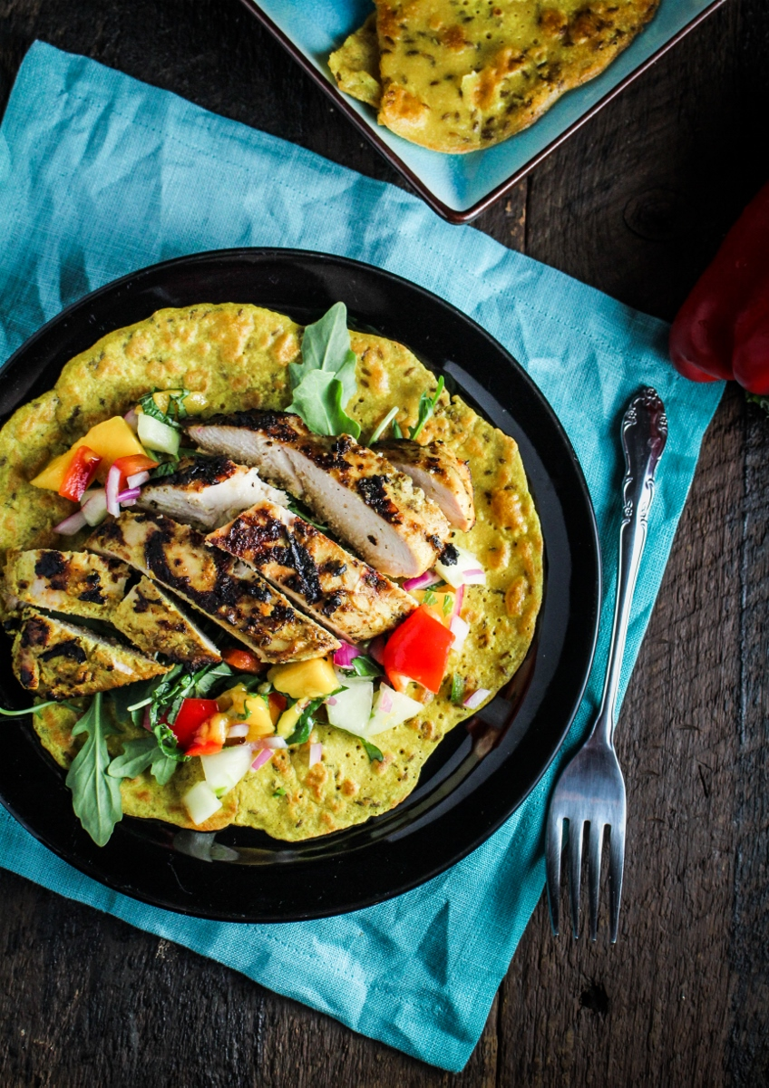 Monthly Fitness Goals: June // Chickpea Crepes with Grilled Curry Chicken and Mango Salsa