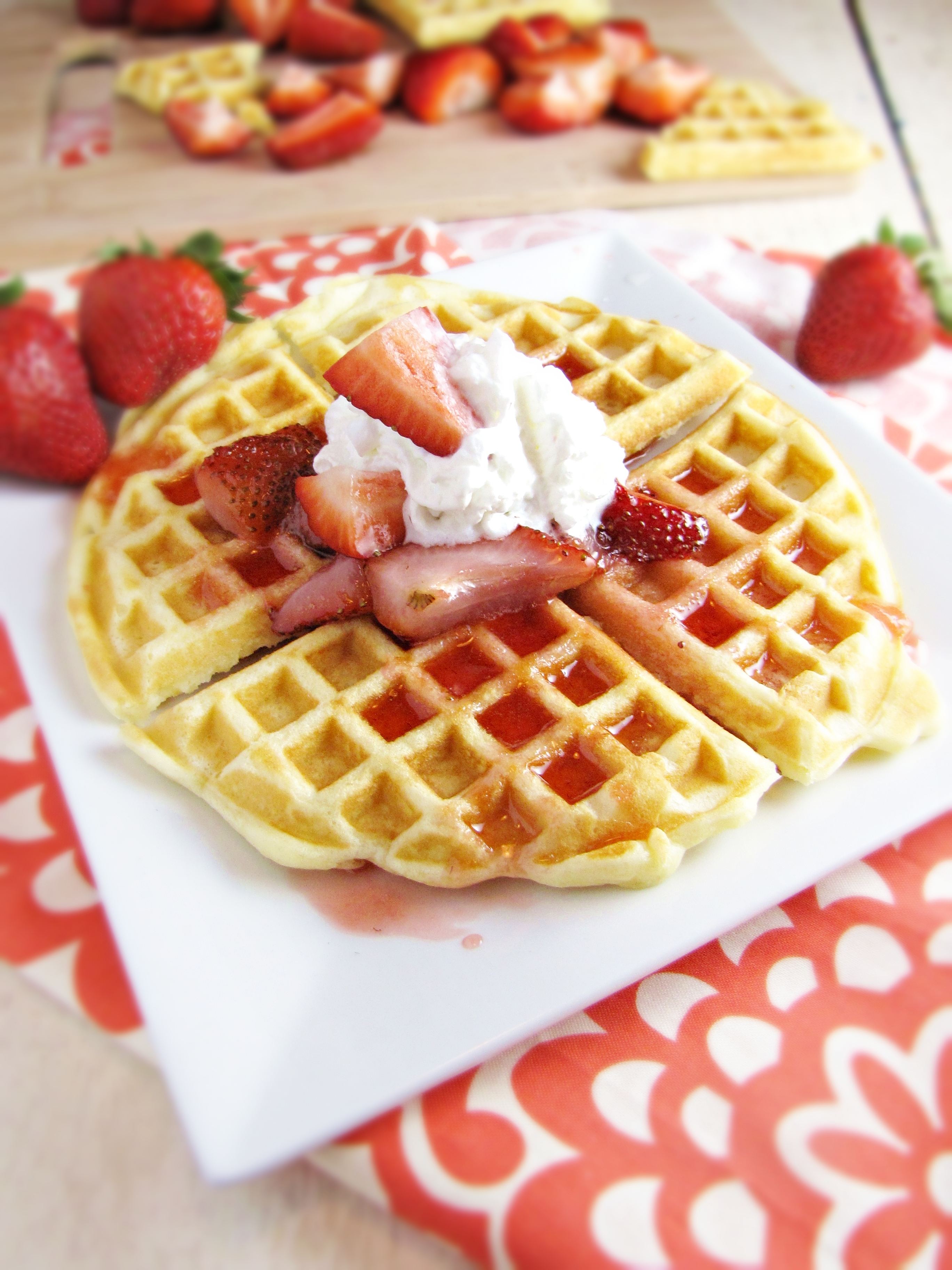 Waffles with Strawberry Sauce {Katie at the Kitchen Door}
