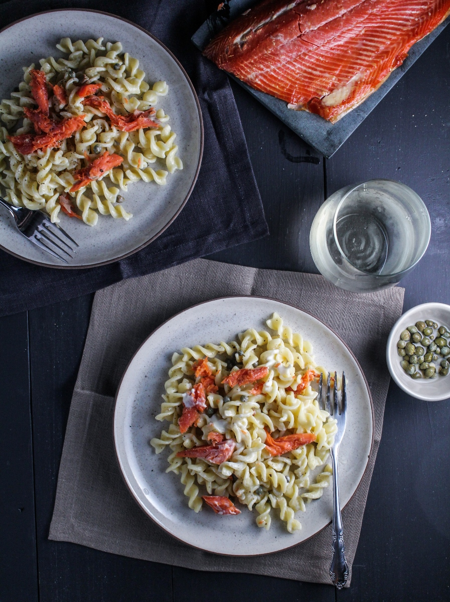 Smoked Salmon, Creme Fraiche, and Caper Rotini {Katie at the Kitchen Door}