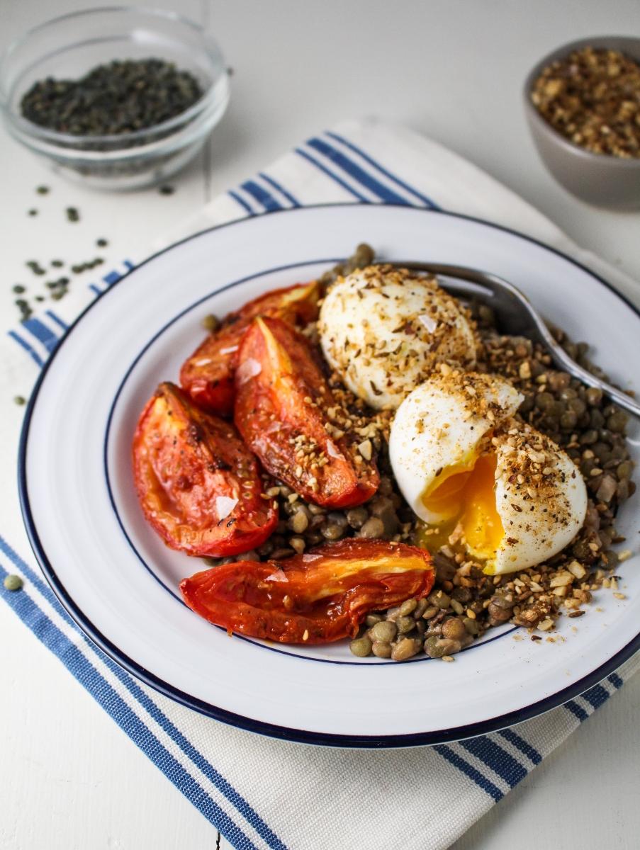 Lentils, Harissa-Roasted Tomatoes, Dukka-Rolled Eggs {Katie at the Kitchen Door}