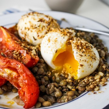10 Healthy Winter Recipes - Lentils, Harissa-Roasted Tomatoes, Dukka-Rolled Eggs {Katie at the Kitchen Door}