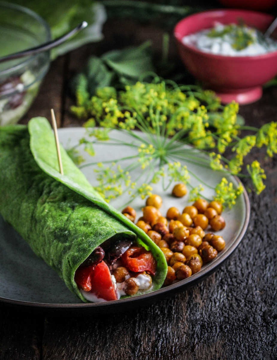 Monthly Fitness Goals: July // Homemade Spinach Wraps with Chopped Greek Salad
