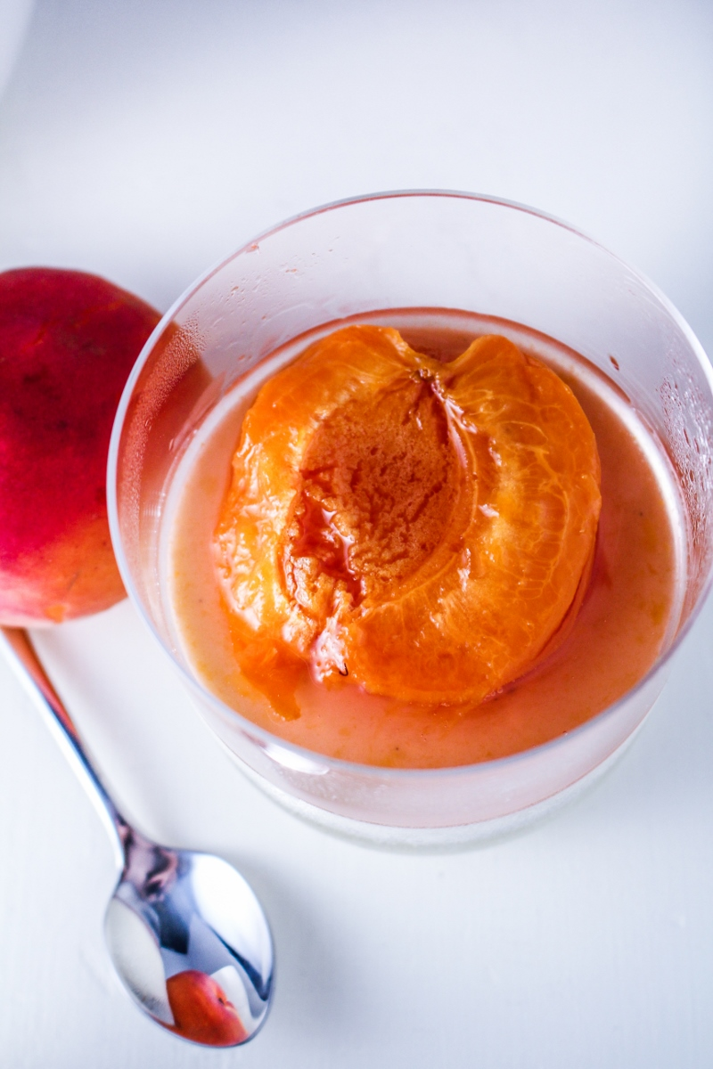 Basil Panna Cotta with Rosé-Poached Apricots