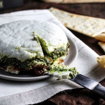 Goat Cheese Terrine with Fig Jam and Pesto {Katie at the Kitchen Door} #houseofcheese