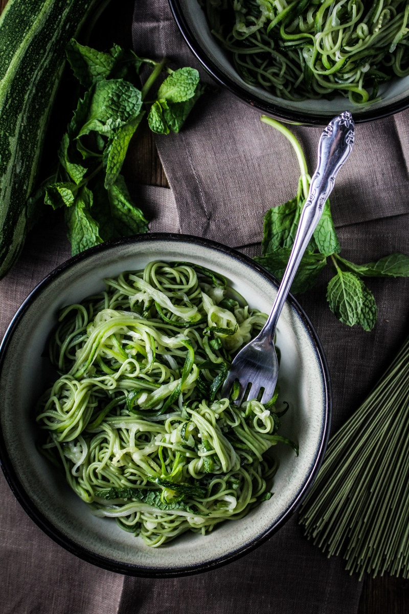 Monthly Fitness Goals: August // Green Tea and Zucchini Noodles with Honey-Ginger Sauce
