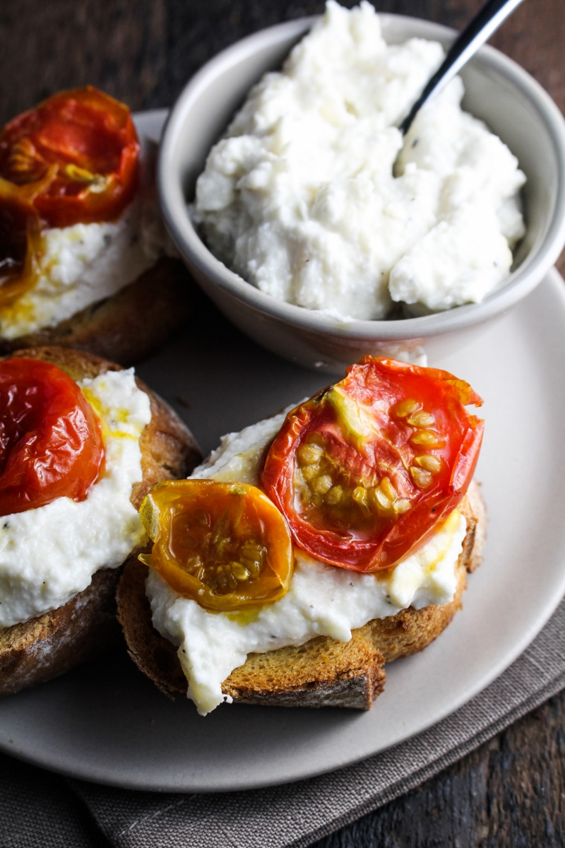 Maple-Roasted Cherry Tomato, Roasted Garlic and Ricotta Crostini {Katie at the Kitchen Door}