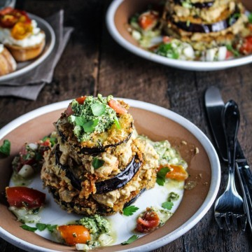 Eggplant Napoleon - Pesto Marinated Eggplant, Baba Ghanoush, Tomato-Pesto Salad {Katie at the Kitchen Door}