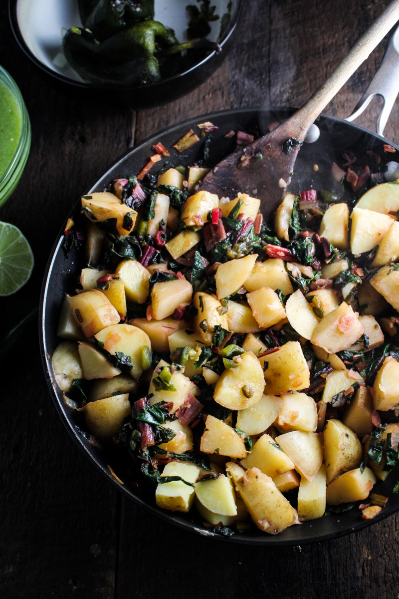 Potato, Poblano, and Chard Enchilada Filling {Katie at the Kitchen Door}