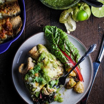Potato, Poblano, and Chard Enchiladas with Raw and Roasted Salsa Verde