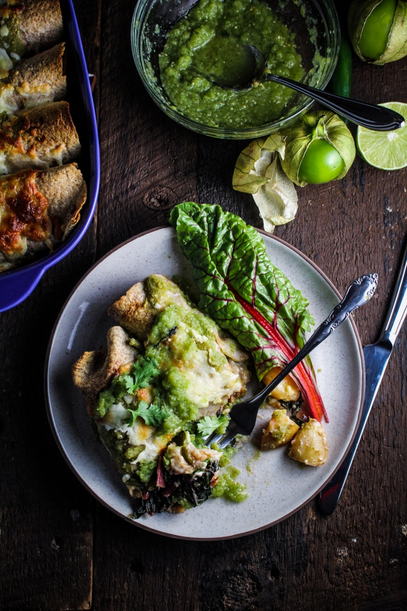 Monthly Fitness Goals: September // Potato, Poblano, and Chard Enchiladas with Raw and Roasted Salsa Verde
