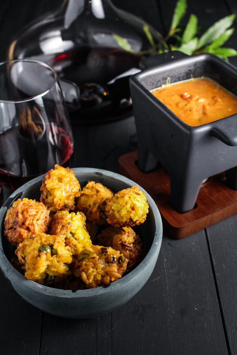 Indian-Spiced Arancini and Curried Tomato-Gruyere Fondue {Katie at the Kitchen Door}