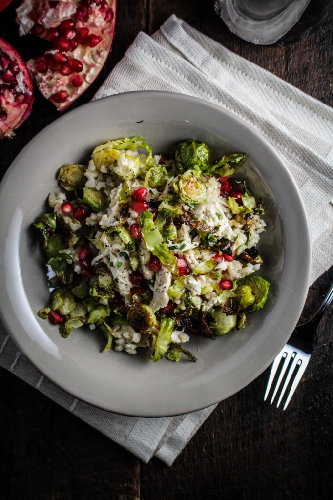10 Healthy Winter Recipes - Crispy Brussels Sprouts, Lemon Chicken, and Pomegranate Rice Bowl {Katie at the Kitchen Door}