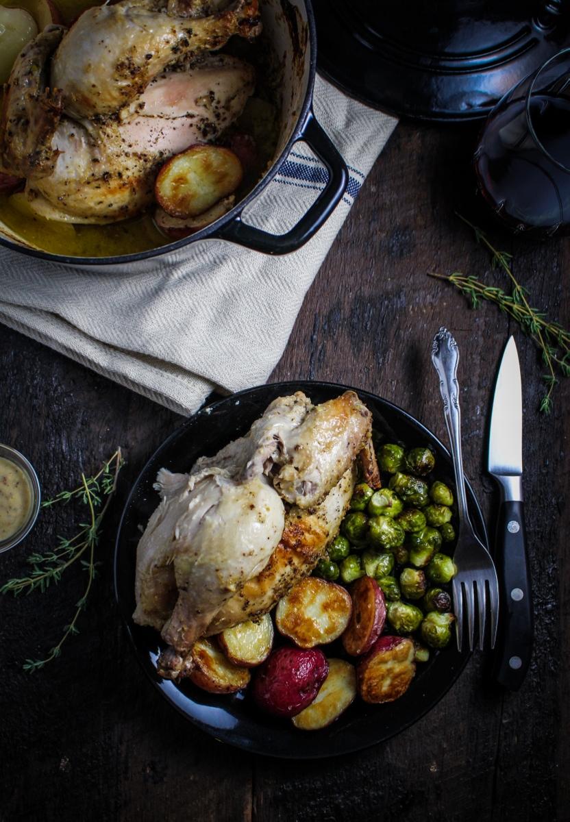 Mustard and Creme Fraiche Roast Chicken {Katie at the Kitchen Door} @kitchendoor