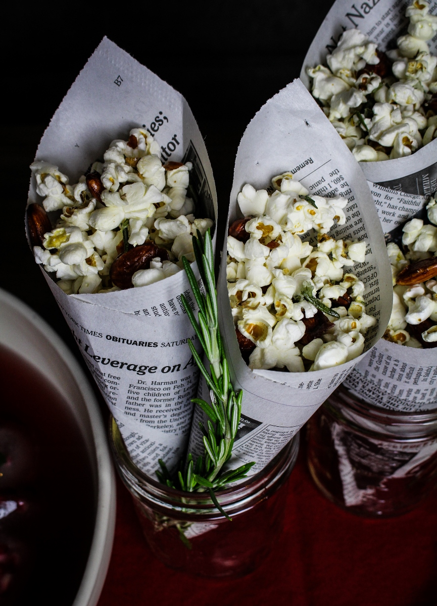 Popcorn with Rosemary Butter and Honey-Chipotle Almonds {Katie at the Kitchen Door}