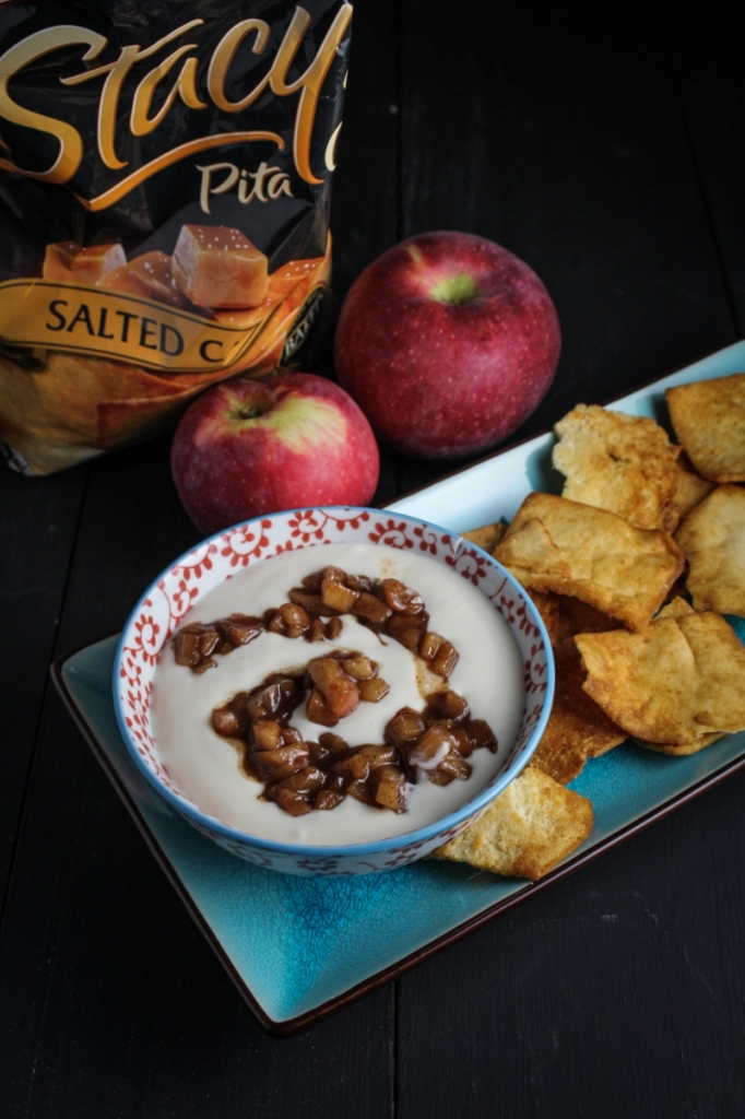 Cinnamon-Apple and Whipped Greek Yogurt Dip with #StacysSaltedCaramel Pita Chips #sponsored {Katie at the Kitchen Door} @stacyssnacks