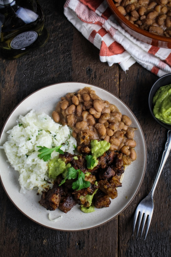 Slow-Cooked Pork in Tequila with Rice, Beans, and Avocado Salsa {Katie at the Kitchen Door}