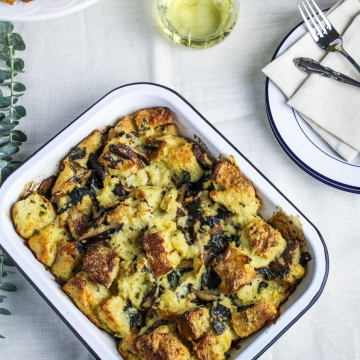 New Year's Day Brunch: Wild Mushroom and Goat Cheese Strata {Katie at the Kitchen Door} #LaCremaStyle