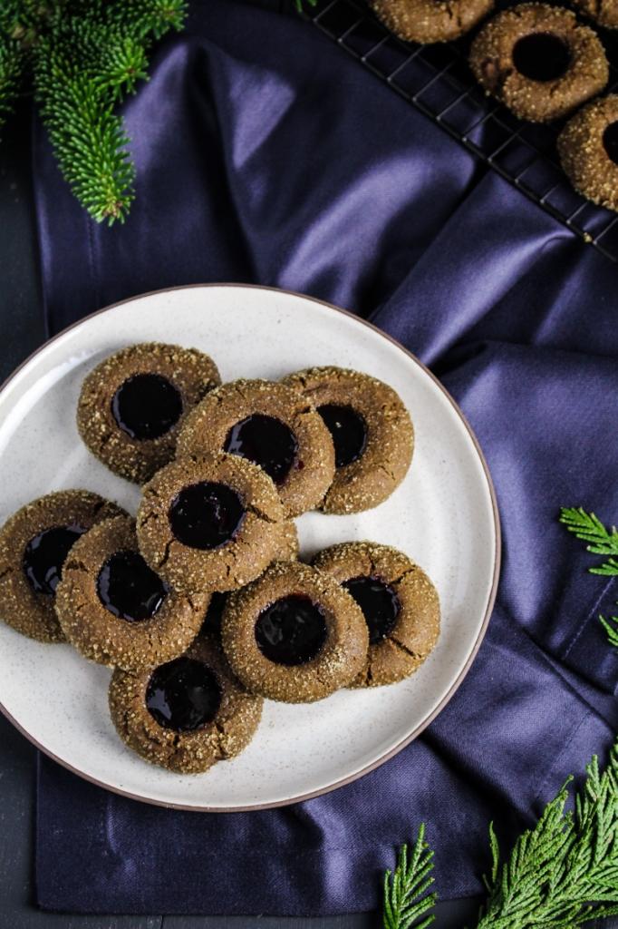 Gingerbread Thumbprints with Cherry Jam {Katie at the Kitchen Door}