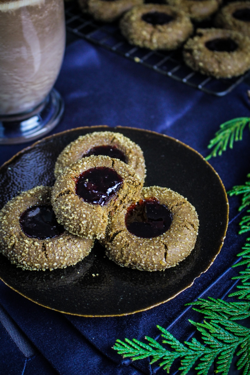 Gingerbread Thumbprints with Cherry Jam