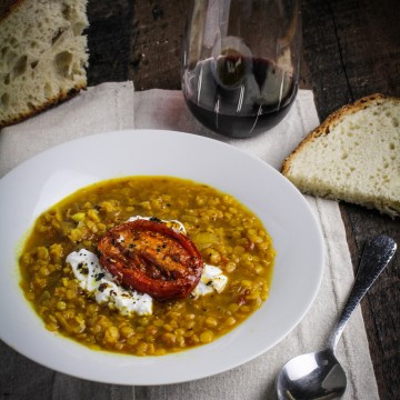 Roasted Tomato and Lentil Soup with Saffron {Katie at the Kitchen Door} #recipe #healthy