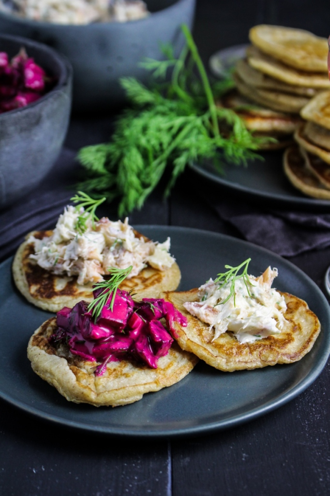 Rye Blini with Hot-Smoked Salmon Dip and Russian Beet Salad {Katie at the Kitchen Door}