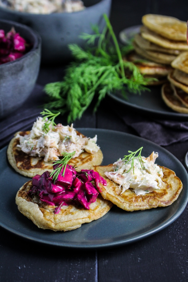 2014 – A Year in Review // Rye Blini with Smoked Salmon Dip and Russian Beet Salad