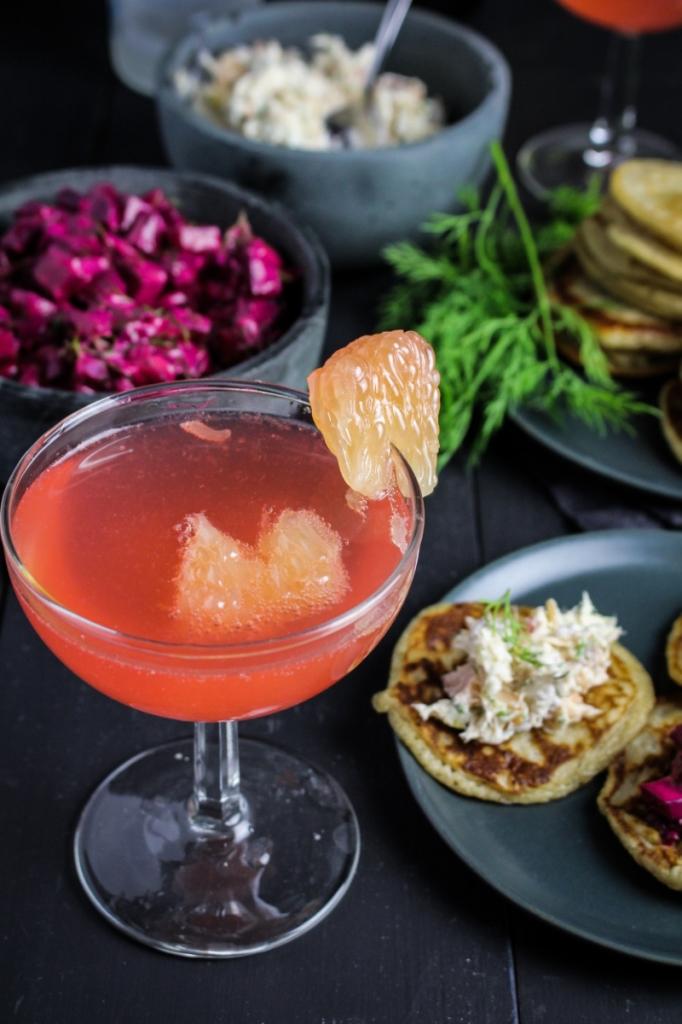 Pretty in Pink - Grapefruit, Campari, Vodka, Prosecco {Katie at the Kitchen Door}