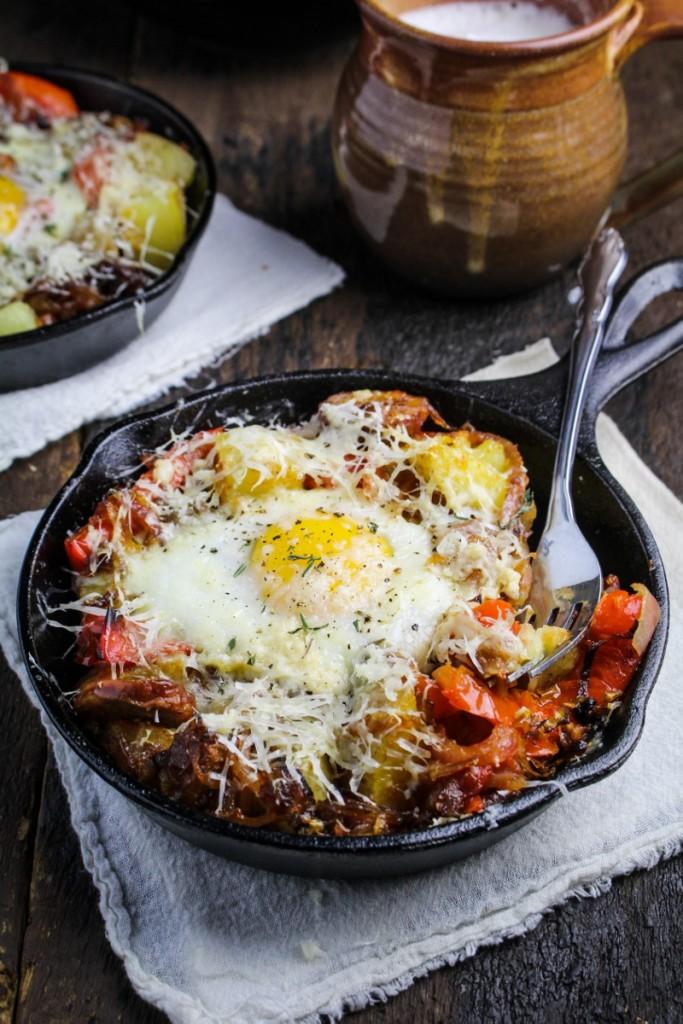 Hangover Hash - Potatoes, Chorizo, Peperonata, Caramelized Onions, Eggs, and Gouda {Katie at the Kitchen Door}