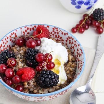 Buckwheat Porridge with Berries and Skyr {Katie at the Kitchen Door}