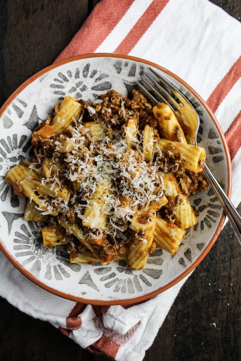 Rigatoni Bolognese {Katie at the Kitchen Door}