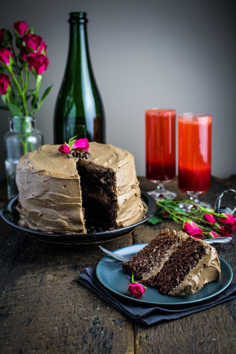 Chocolate Espresso Layer Cake {Katie at the Kitchen Door} #valentines