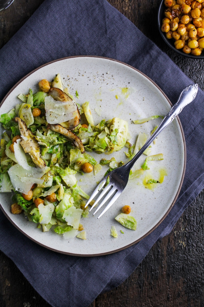 Brussels Sprout Caesar Salad with Shiitake Mushrooms and Roasted Chickpeas {Katie at the Kitchen Door}
