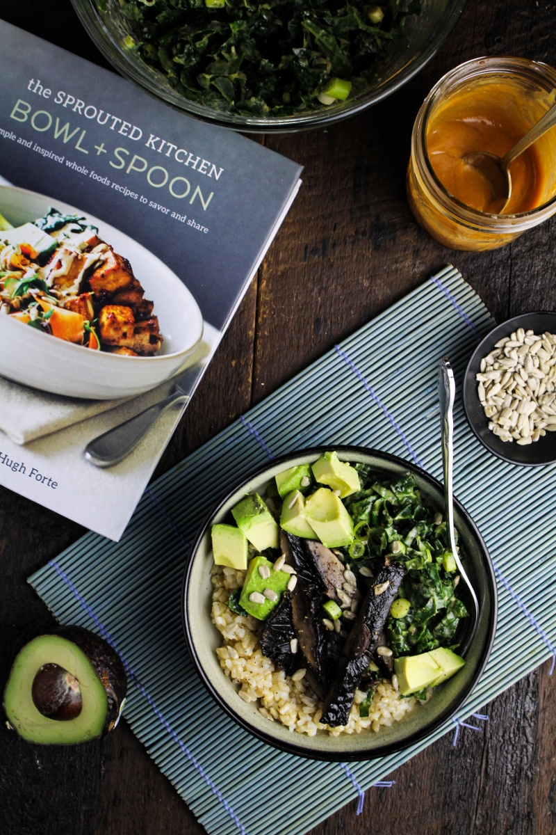 Tahini Kale Slaw and Tamari Roasted Portobello Bowl {Katie at the Kitchen Door}