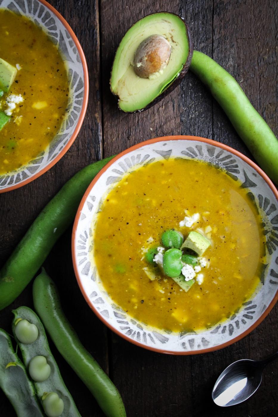 Ecuadorian Locro - Creamy Potato, Cheese, and Fava Bean Soup {Katie at the Kitchen Door}