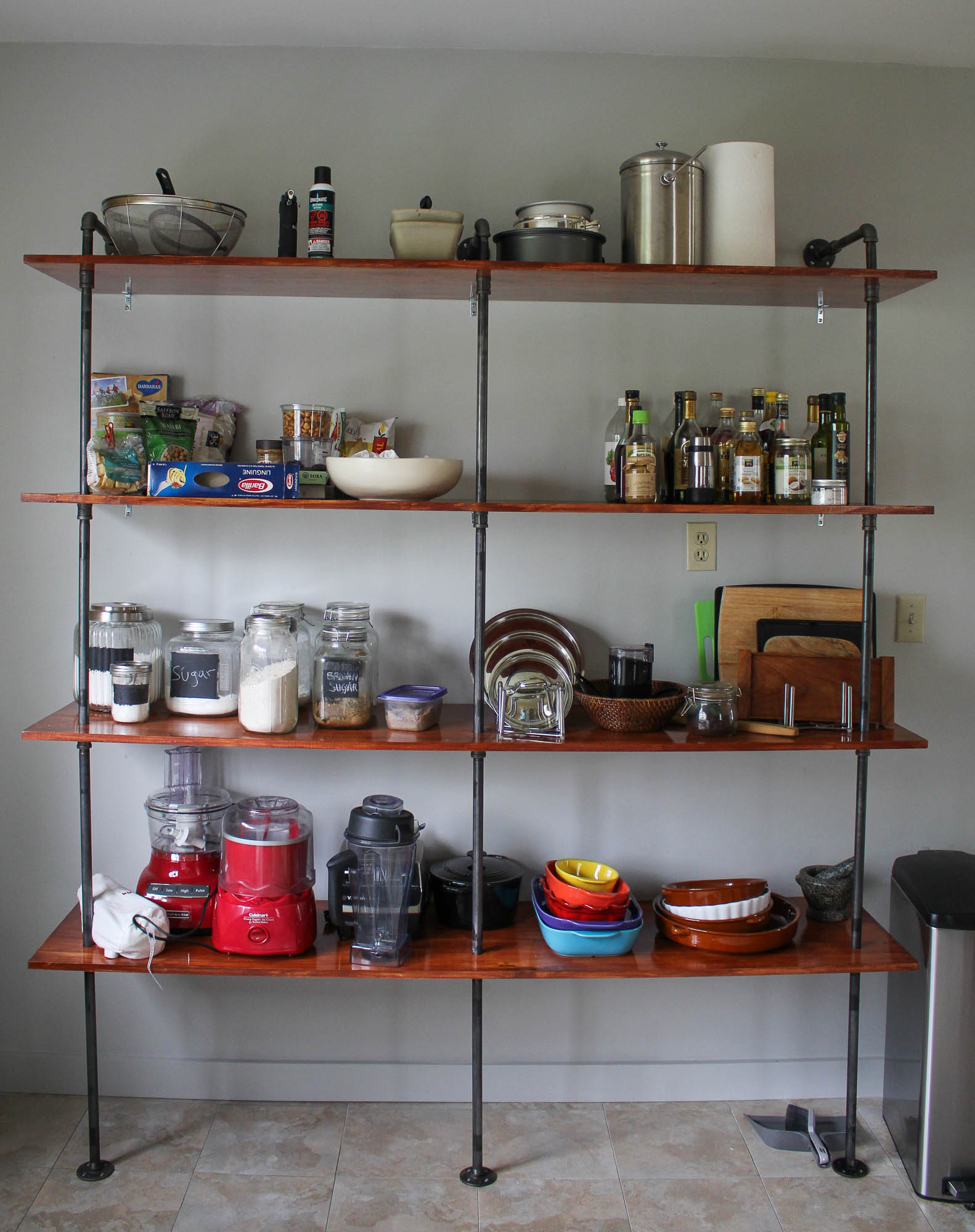 DIY Industrial Kitchen Shelves