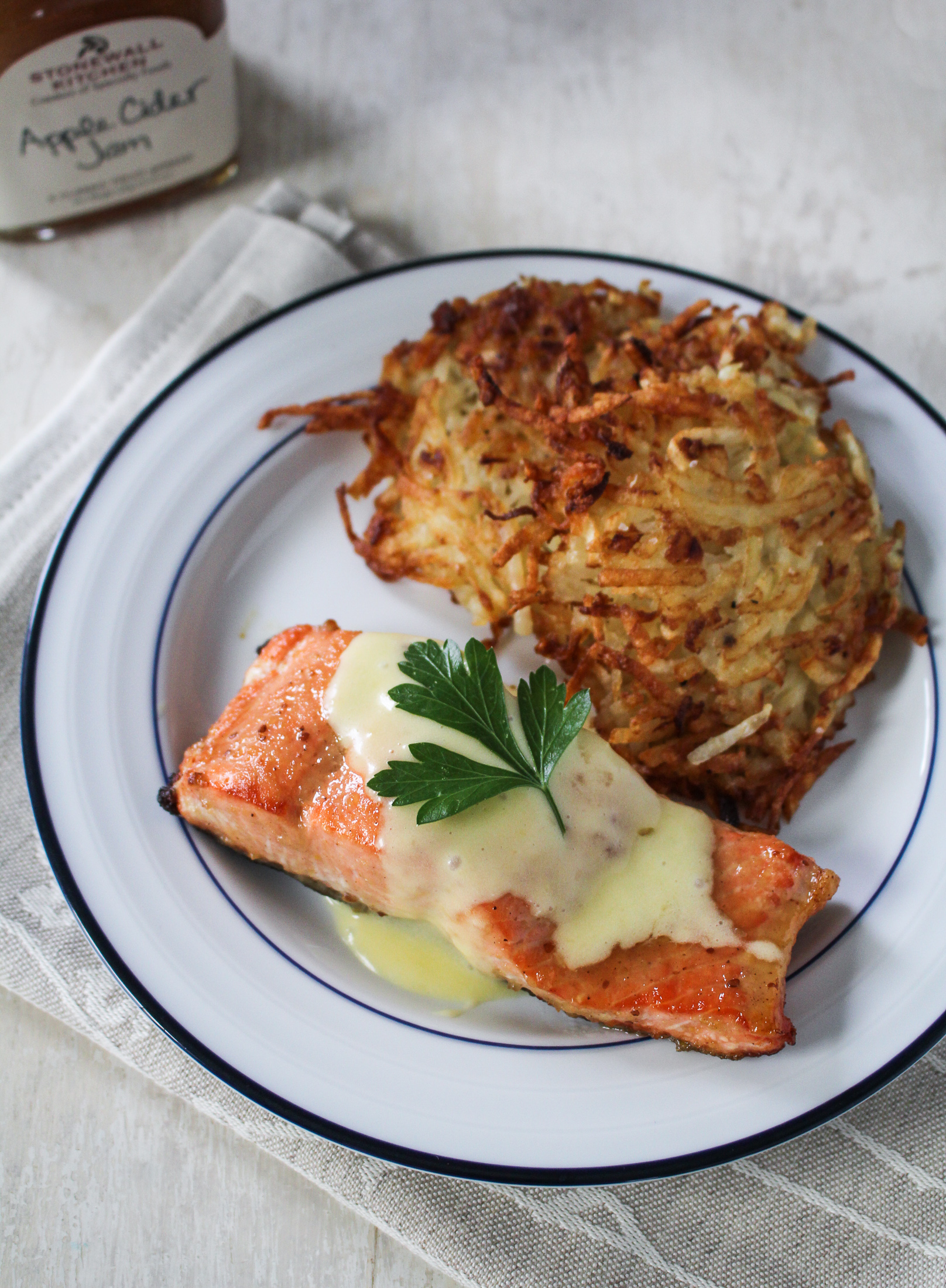 Cider-Jam-Glazed Salmon and Potato Latke Eggs Benedict