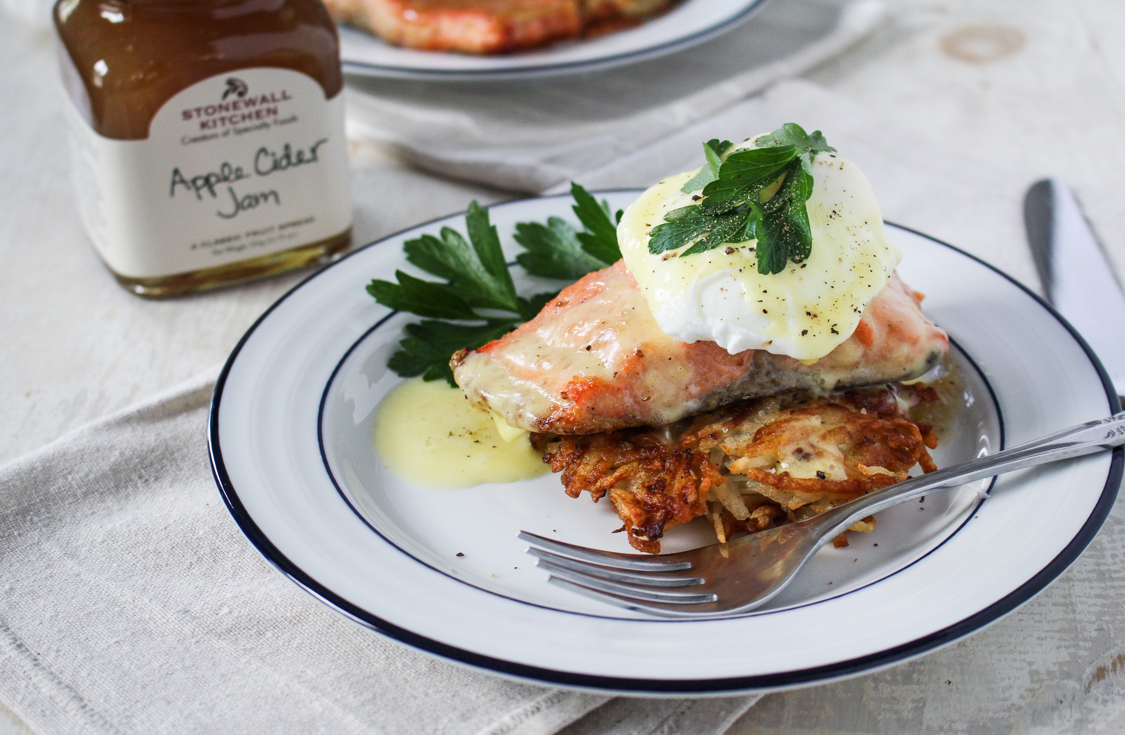 Apple-Cider-Jam-Glazed Salmon and Potato Latke Eggs Benedict {Katie at the Kitchen Door} #sponsored