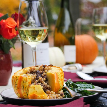 Harvest Pumpkin Dinner - Mini-Stuffed Pumpkins with Middle-Eastern Beef and Couscous {Katie at the Kitchen Door}