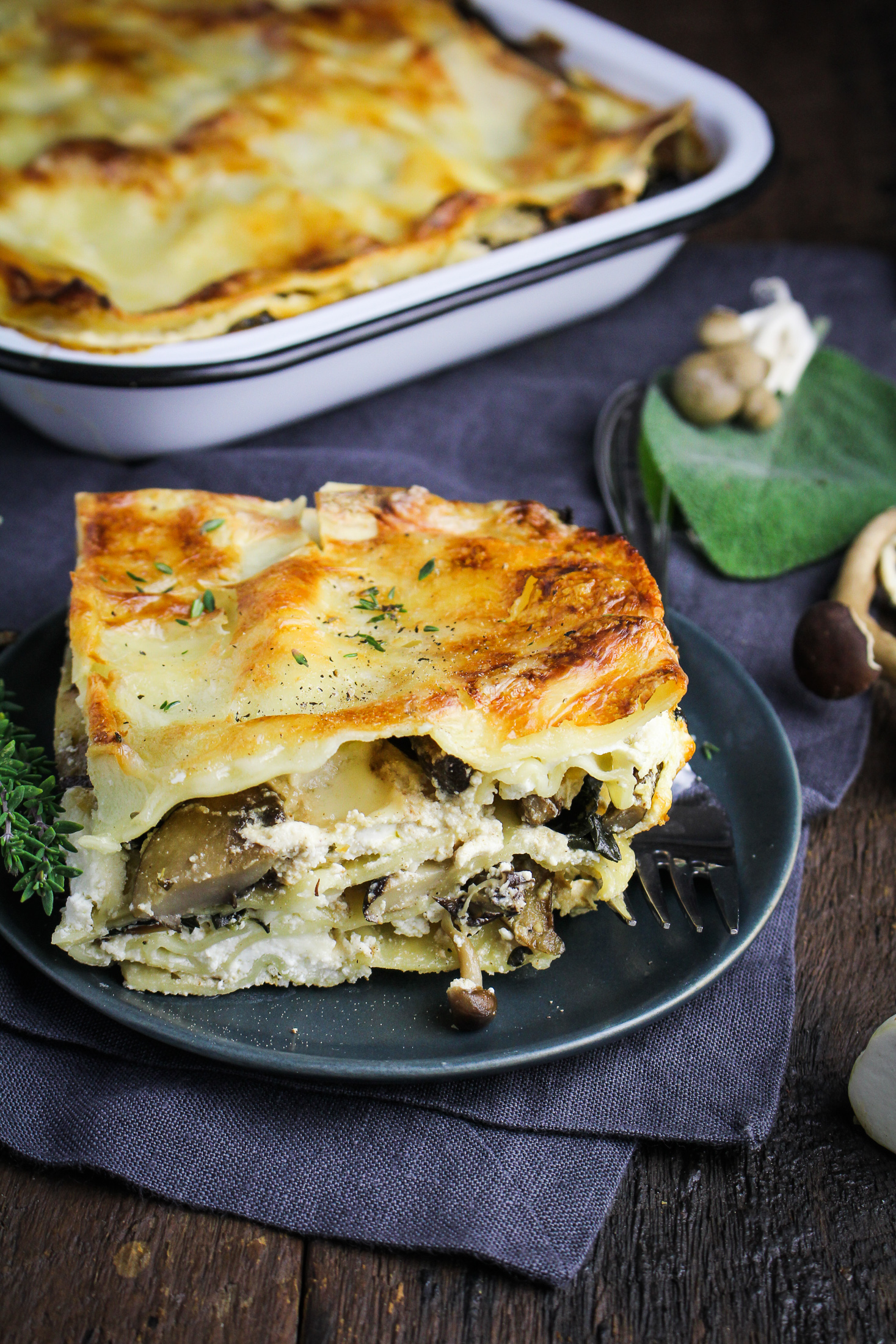 Wild Mushroom Lasagna {Katie at the Kitchen Door}