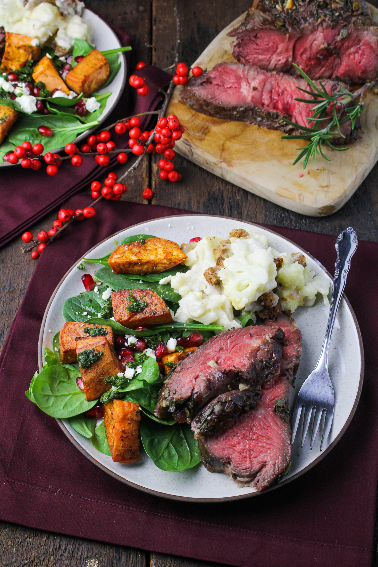 Sunday Dinner: Rosemary-and-Sage-Crusted Roast Beef, Cauliflower Gratin, Root Vegetable Salad {Katie at the Kitchen Door}