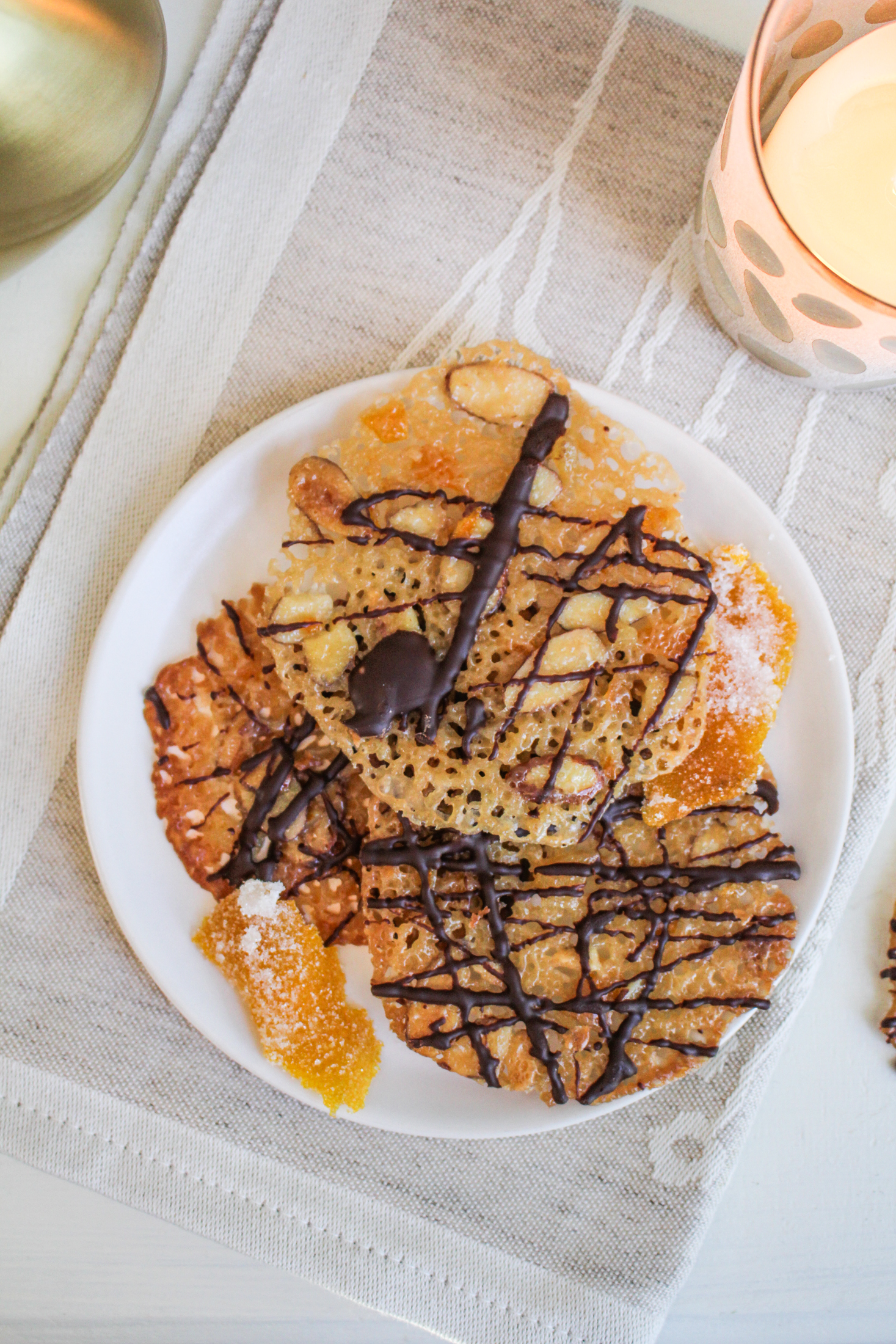Christmas Cookies: Chocolate-Dipped Orange and Ginger Florentines {Katie at the Kitchen Door}