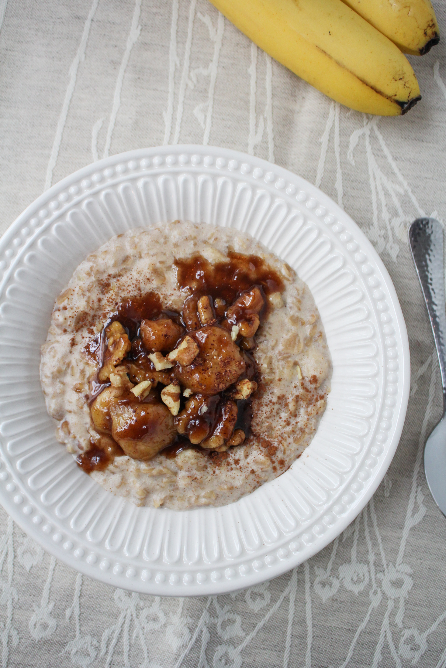 Bananas Foster Oatmeal {Katie at the Kitchen Door}
