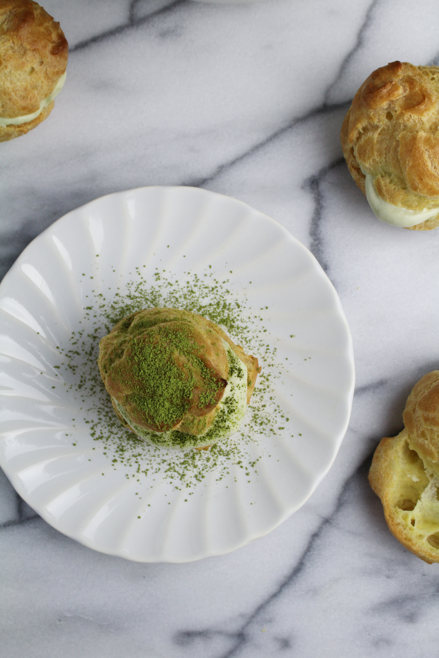 Matcha Cream Puffs {Katie at the Kitchen Door}
