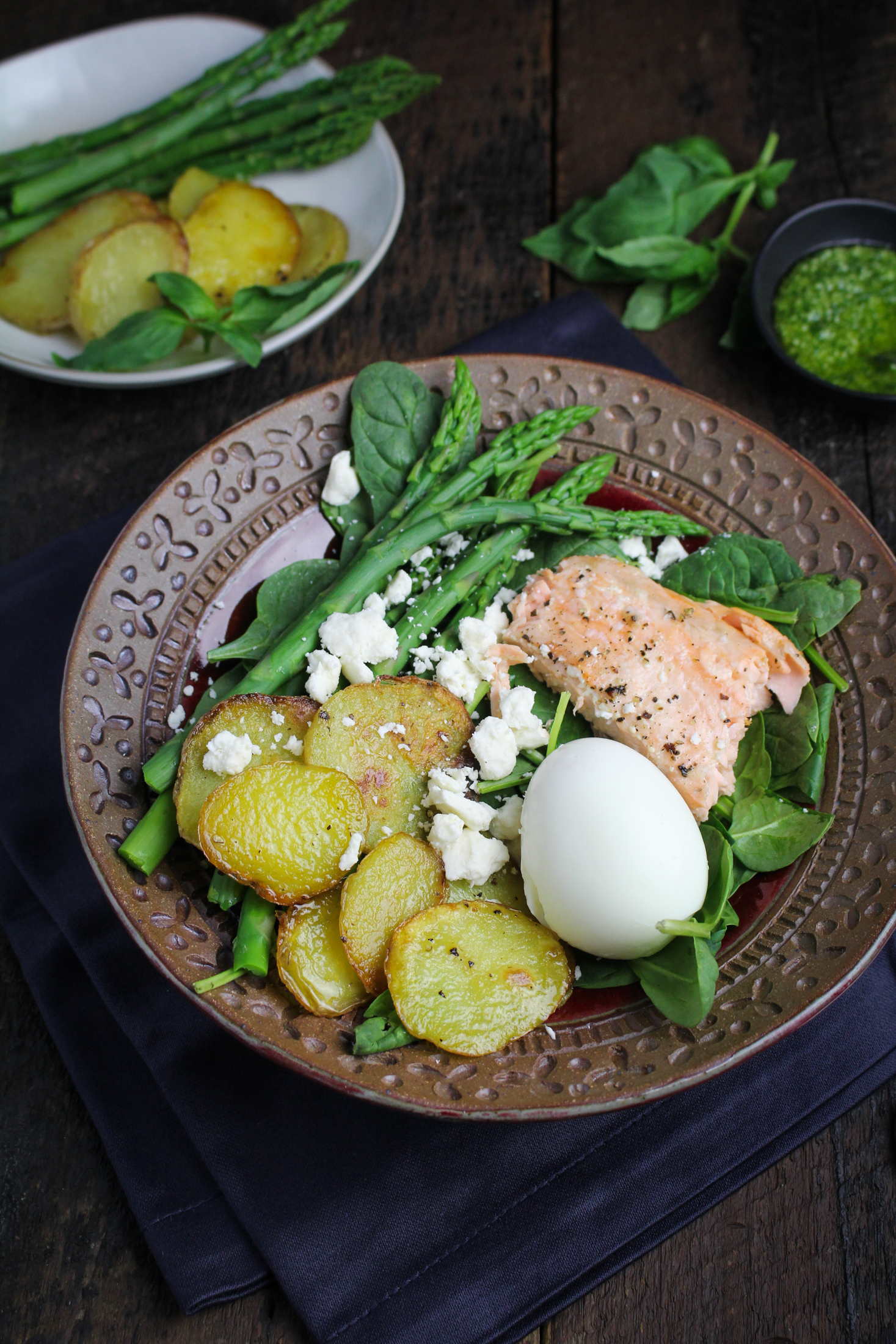 Salmon, Asparagus, and Roasted Potato Salad with Pesto Dressing and Soft-Boiled Egg {Katie at the Kitchen Door}