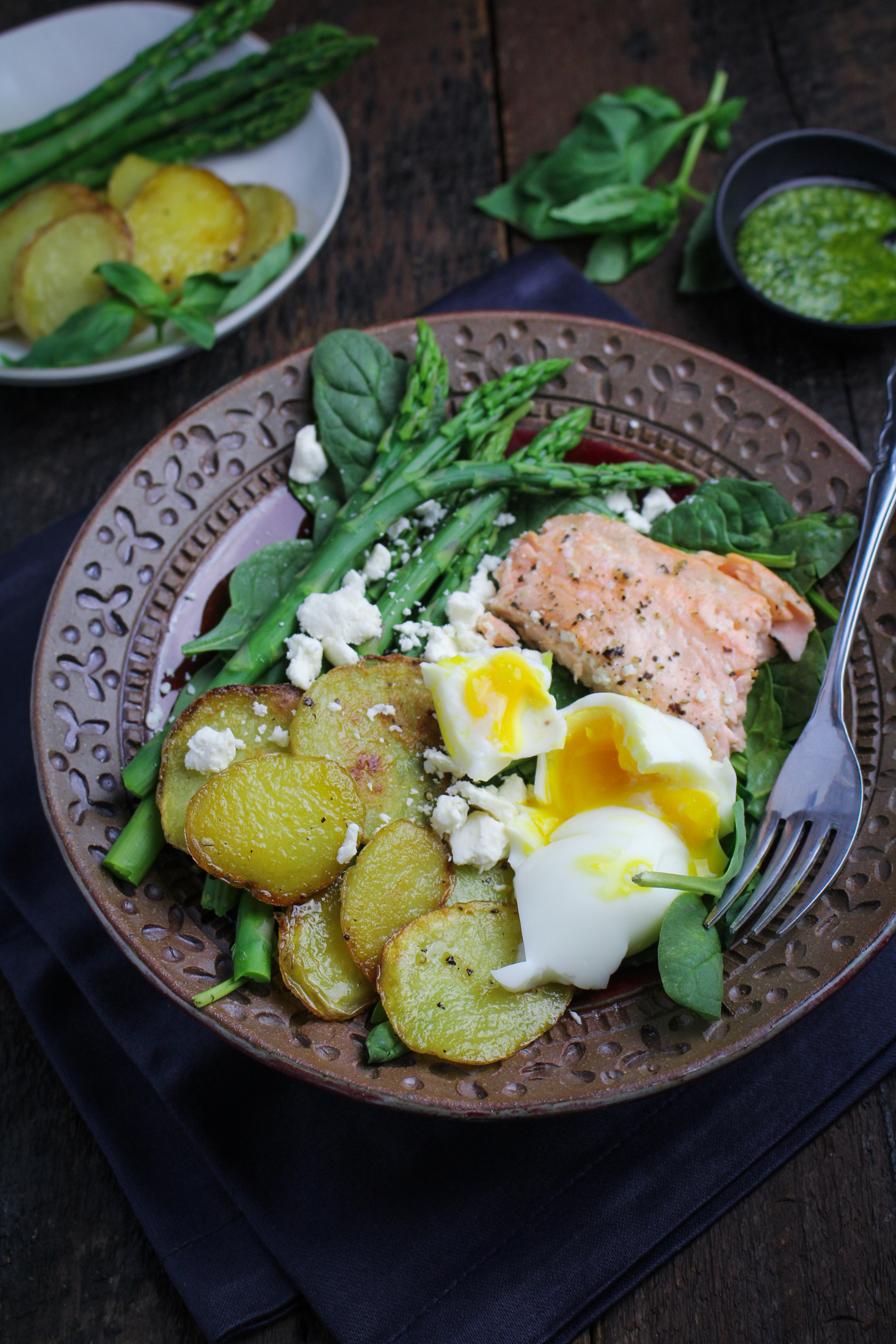 Nights for One // Salmon, Asparagus, and Roasted Potato Salad with Pesto Dressing
