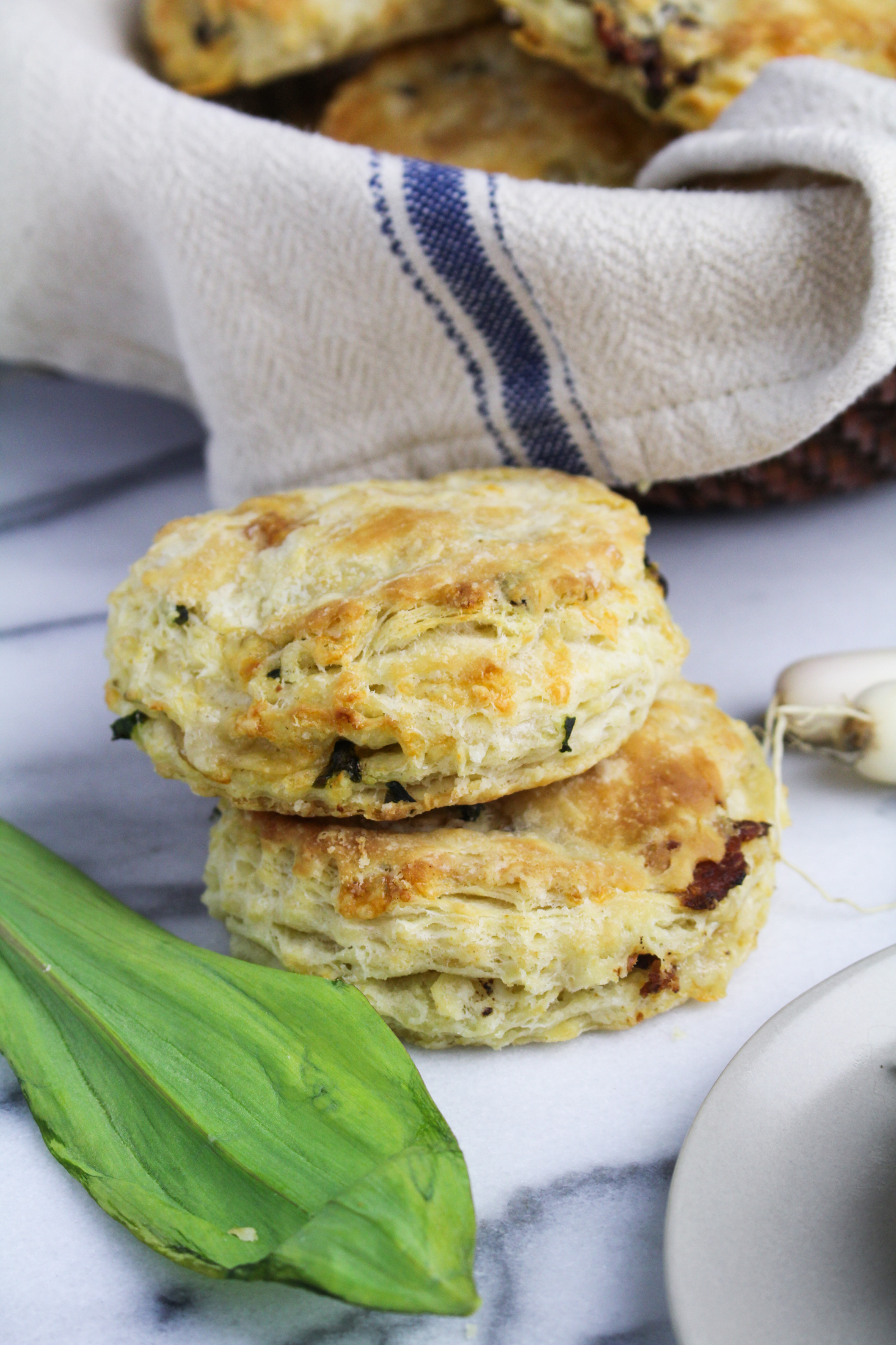Ramp, Cheddar, and Bacon Buttermilk Biscuits {Katie at the Kitchen Door}